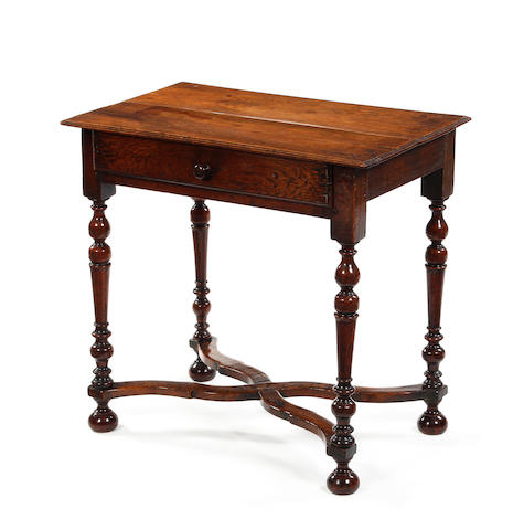 A small William & Mary walnut, fruitwood and ash, side table