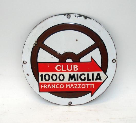 Club 1000 Miglia Franco Mazzotti enamel sign,