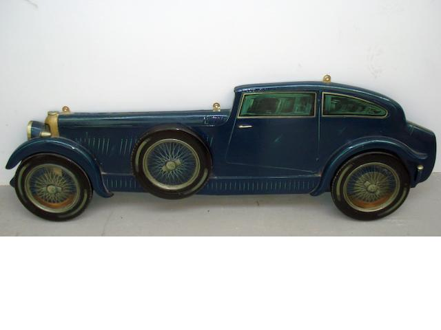 A hand-painted wooden profile of Bentley 'Blue Train',
