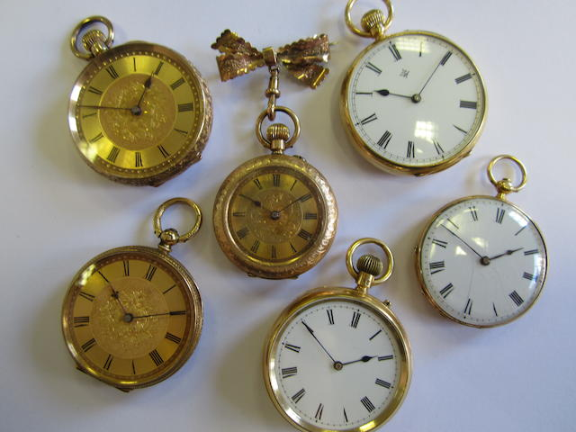 A lot of six gold open face pocket watches