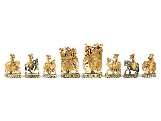 An Indian ivory figural chess set, Rajasthan, circa 1870,