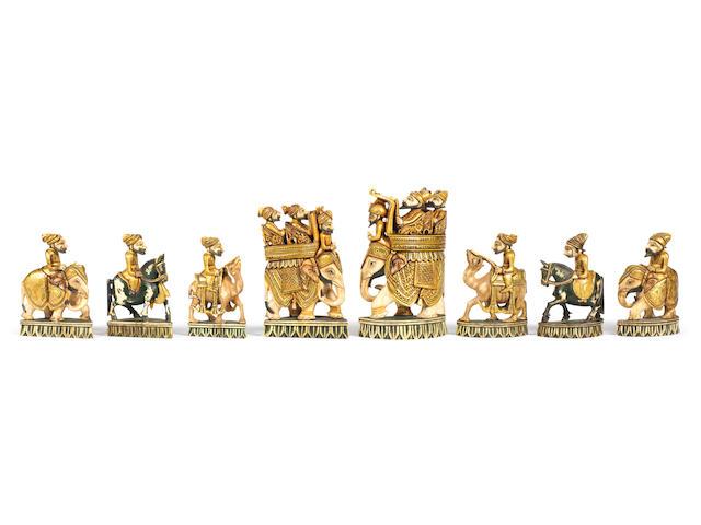 An Indian ivory figural chess set, Rajasthan, circa 1870,