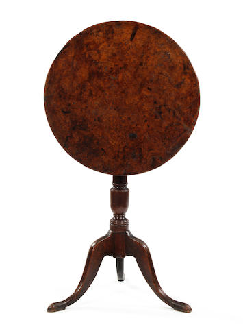 A George III burr elm and oak tripod occasional table