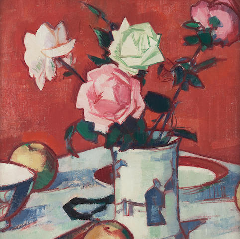 Samuel John Peploe, RSA (British, 1871-1935) Still life of mixed roses in Chinese vase 45.5 x 40.5 cm. (17 15/16 x 15 15/16 in.)