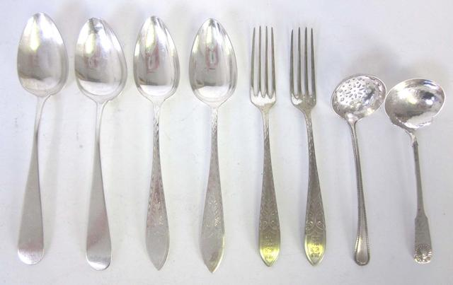 A quantity of Continental silver and metalware flatware,