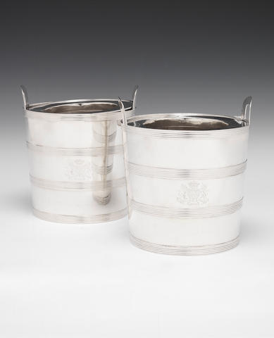 A pair of George III silver wine coolers, by William Laver, London 1809,  (2)