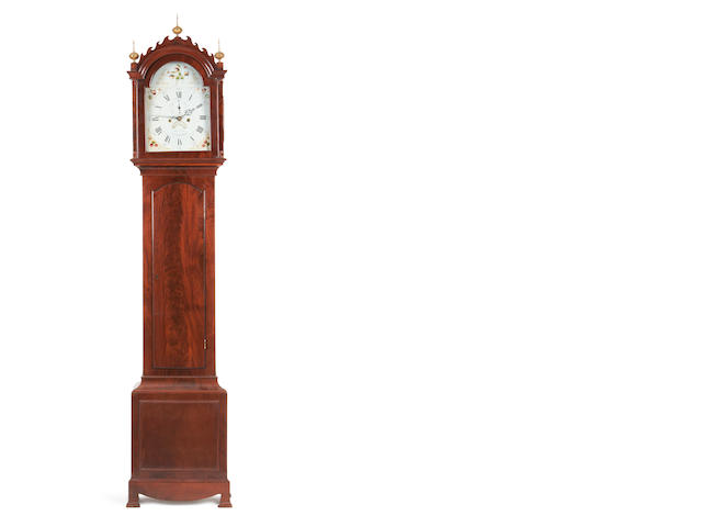 A late 18th century mahogany longcase clock with 'First Period' painted dial   Warren, Canterbury