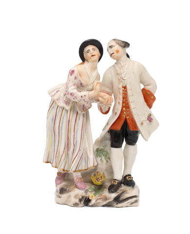 A Capodimonte group of a couple, circa 1755