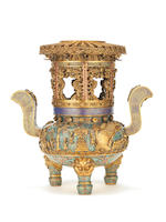 An Imperial fine and rare cloisonné enamel and gilt-bronze tripod two-handled bowl and tiered stand Cast Qianlong four-character mark and of the period