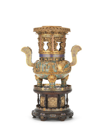 An Imperial fine and rare cloisonné enamel and gilt-bronze incense burner and tiered stand Cast Qianlong four-character mark and of the period