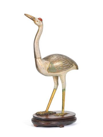 A large cloisonné enamel standing crane Late 18th/19th century