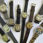 A lot of nine various wristwatches