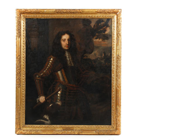 After Sir Peter Lely (1618-1680) Portrait of William Prince of Orange in armour, three quarter length before a cavalry skirmish, probably 17th century, with later restorations