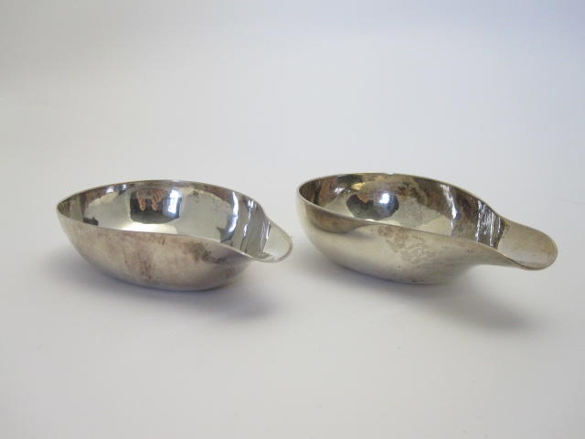 Two 18th century silver pap bowls Marks rubbed, London  (2)