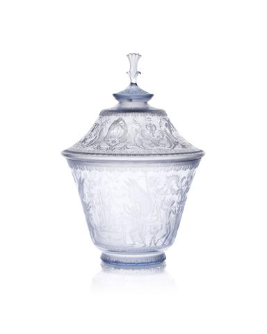 A Swedish Royal presentation engraved glass bowl and cover