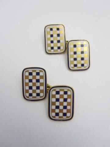 A pair of enamel cufflinks
