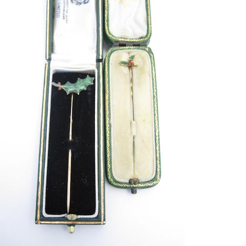 Two enamel stickpins