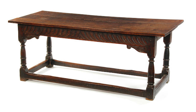 A Charles I oak refectory table.