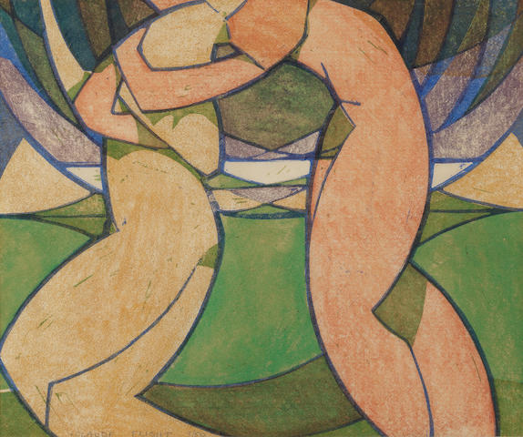 Claude Flight (British, 1881-1955) Spring Linocut printed in yellow ochre, vermilion, mauve, emerald green and cobalt blue, 1926, a strong and bright impression, on thin cream oriental laid, signed and numbered 9/50 in pencil, with margins, 247 x 296mm (9 7/8 x 11 6/8in)(B)