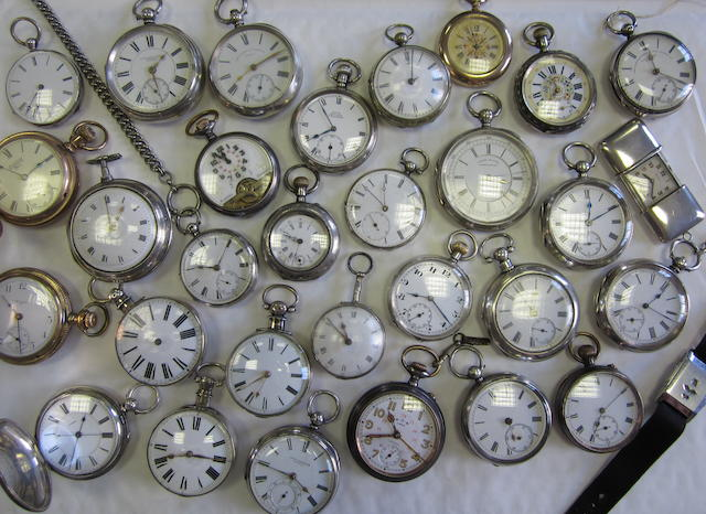 A lot of thirty-one various silver pocket watches