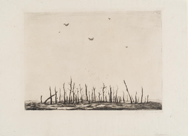 Christopher Richard Wynne Nevinson A.R.A. (British, 1889-1946) That Cursed Wood The rare drypoint, 1918, on laid Antique de luxe paper, signed and dated in pencil, with margins, 250 x 349mm (9 7/8 x 13 3/4in) (PL)(unframed)