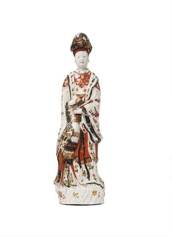 A Chinese Blanc de Chine figure of Guanyin with European cold decoration