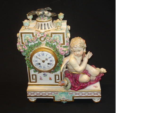 A late 19th Century Meissen mantel clock
