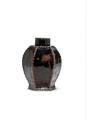 A rare silver-mounted Böttger stoneware black-glazed octagonal tea canister and cover, circa 1710