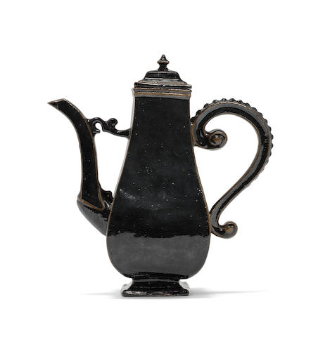 A Meissen lacquered Böttger stoneware coffee pot and cover, circa 1710-13