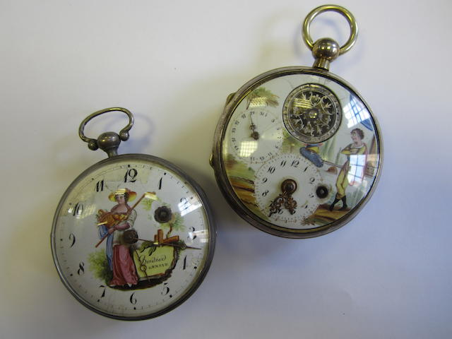 A lot of two silver open face pocket watches with painted dials