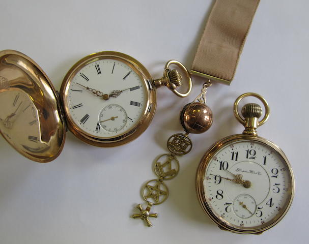 A lot of two various pocket watches together with a gold masonic fob