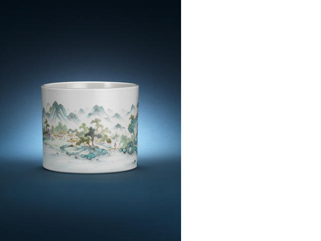 A famille rose landscape brush pot Ping Shan two-character mark