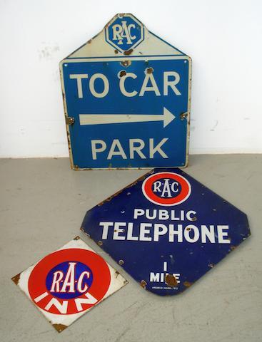 Three enamel RAC signs,