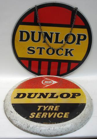 Two Dunlop circular enamel signs,