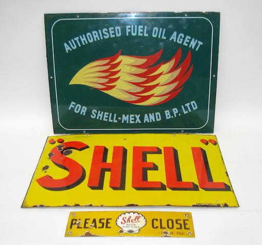 Three Shell enamel signs,
