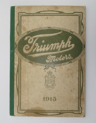 A Triumph Motors sales catalogue for 1913, formerly the property of Oliver Langton,