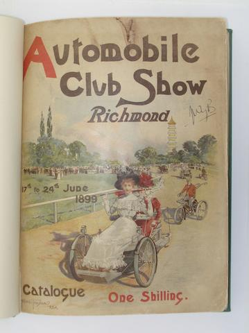 An 1899 Richmond Automobile Club Show catalogue, (VENDOR TO ADD ANOTHER ITEM?)