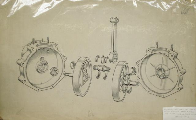 An original 1938 illustration of a Levis 500c motorcycle engine,