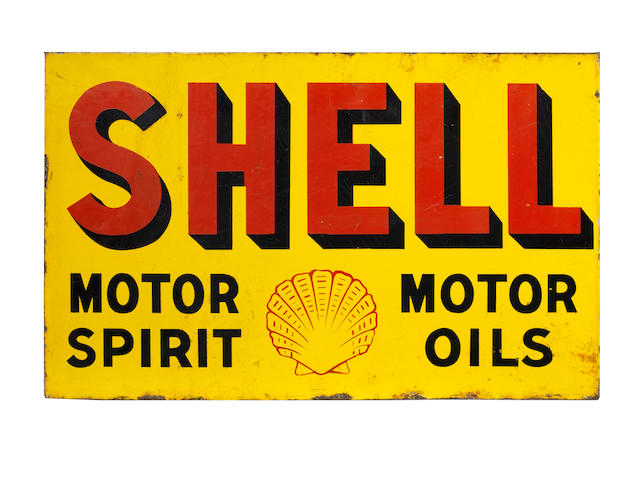 A Shell Motor Spirit Motor Oils double-sided enamel sign,