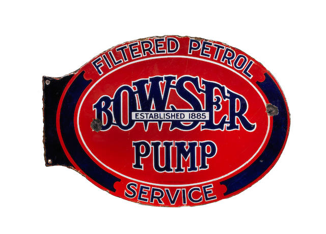 A Bowser Pump Service double-sided shaped enamel sign,