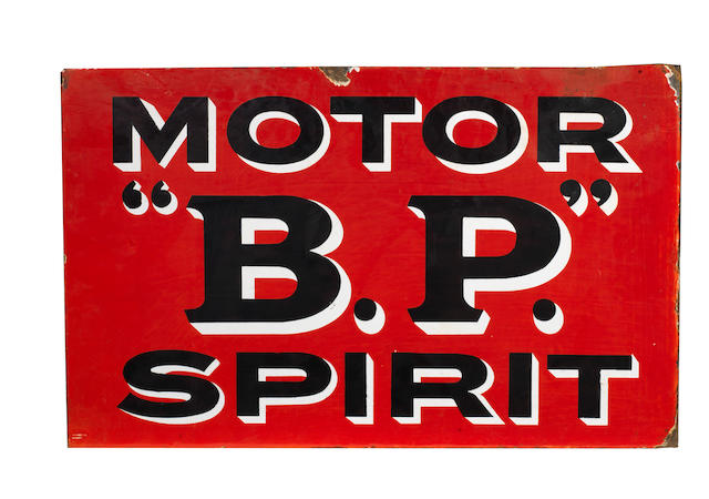 "A ""BP"" Motor Spirit double-sided enamel sign,"