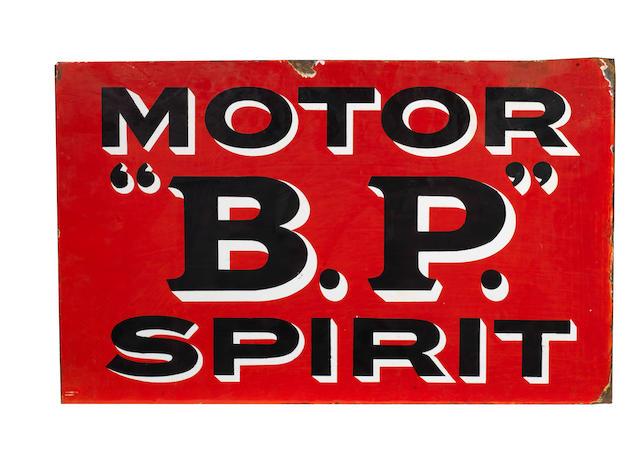 "A ""BP"" Motor Spirit double-sided enamel sign,"