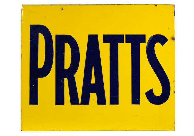 Two Pratts double-sided enamel signs,