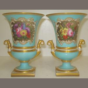 A pair of Worcester Flight Barr & Barr campana shape vases, painted with floral bouquet cartouches, bleu celeste ground heightened with gilding, impressed marks, 24.75cm.