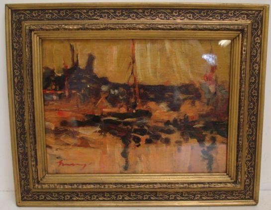 Ken Moroney (British, born 1949) 'Harbour Scene'