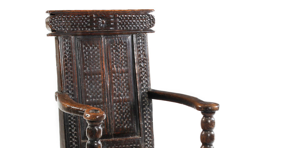 A rare 17th century pine panel back open armchair, Scottish Circa 1660-70