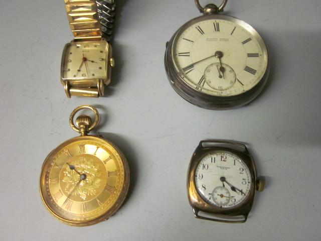 An 18ct open faced pocket watch,  (4)
