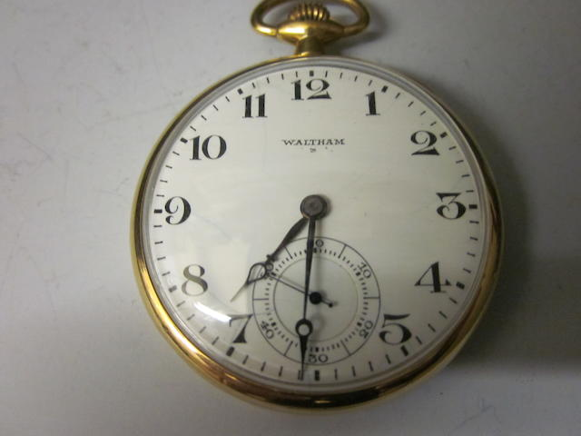 An 18ct gold Waltham open faced pocket watch,