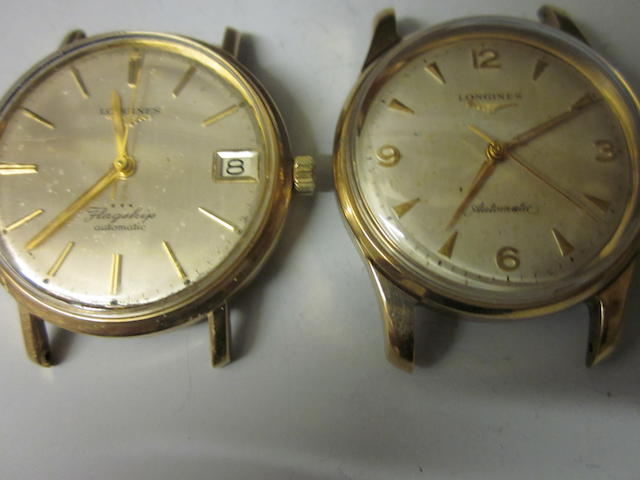 A 9ct gold gents Longines automatic watch, (2)