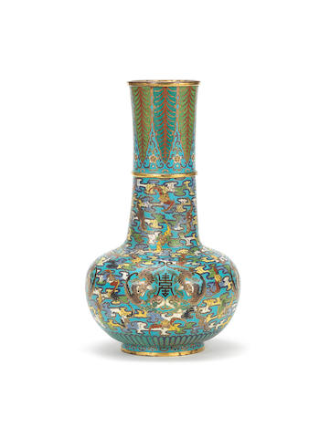 A cloisonné enamel and gilt-bronze globular long-necked vase Early 18th century
